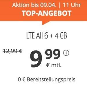 月租仅€9.99 代号入网送€6.82大流量更划算 每月10GB包月上网+德国免费电话/短信