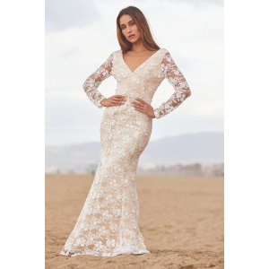 LULUSMake a Promise White Embroidered Lace Long Sleeve Maxi Dress
