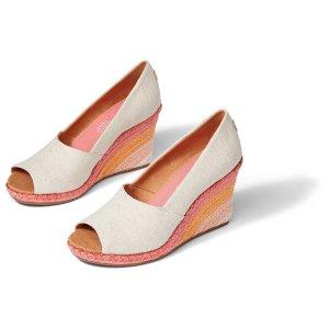 TomsNatural Sunrise Michelle Peep Toe Womens Wedge Dress Shoe | TOMS