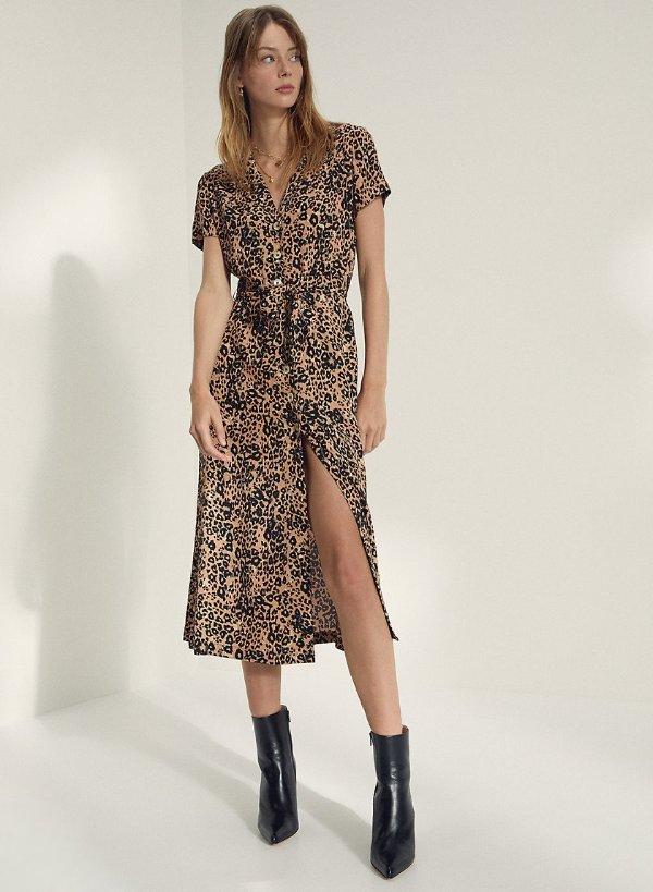 豹纹衬衫裙