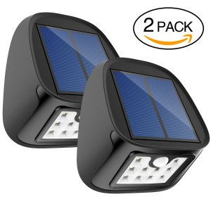 $7Solar Motion Sensor Lights 10 LED Outdoor Waterproof Wall Light Wireless Security Night Light with 3 Modes for Driveway Garden Back Door Step Stair Fence Deck Yard Patio , Pack of 2