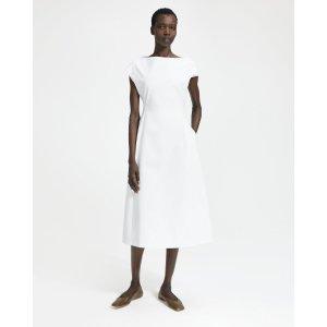 TheoryDouble Stretch Cotton Boatneck Tulip Dress