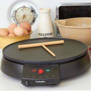$42.99(原价$85.99)煎饼神器!CucinaPro 1448 12英寸盘不粘摊煎饼炉(包括木制煎饼刮板)