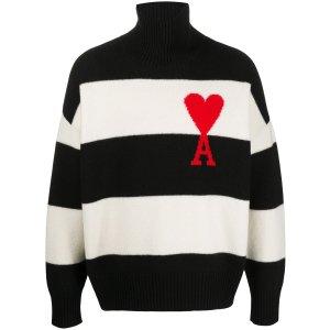 Ami Paris爱心条纹高领毛衣