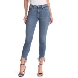 Frame DenimLe High Fray Hem Skinny Jeans