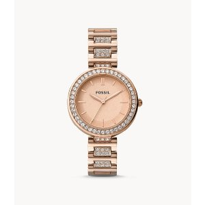 FossilKarli Three-Hand Rose Gold-Tone Stainless Steel Watch
