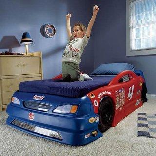 $149.97史低价:Step2 赛车造型儿童床,可从小童床转换成Twin尺寸