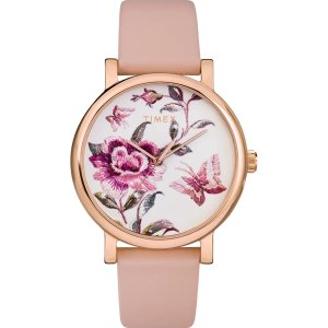 TimexFull Bloom 38mm Leather Strap Watch - Timex US
