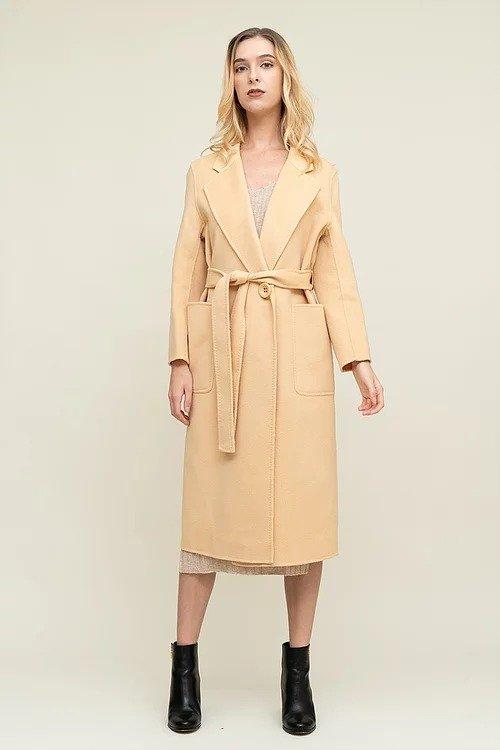鹅黄色浴袍款双面羊毛大衣
