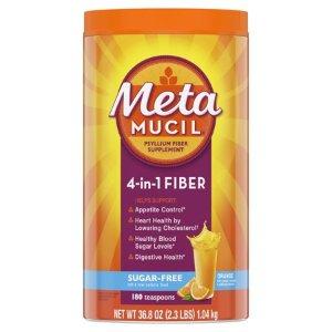Metamucil Fiber, 4-in-1 Psyllium Fiber Supplement, Sugar-Free Powder, Orange Flavored Drink, 180 Servings - Walmart.com