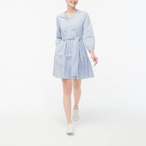 J.CrewTie-waist mini dress in cotton poplin