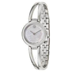 $249 (原价$995) 晒货同款史低价:Movado Amorosa 系列镶钻珍珠母贝手镯式时装女表特卖