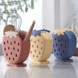 折后€4.38 多色可选可爱草莓沥水架 沥水收纳双重功能 厨具餐具分隔收纳