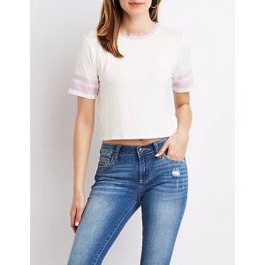 Charlotte RusseVarsity Stripe Ringer Cropped T恤