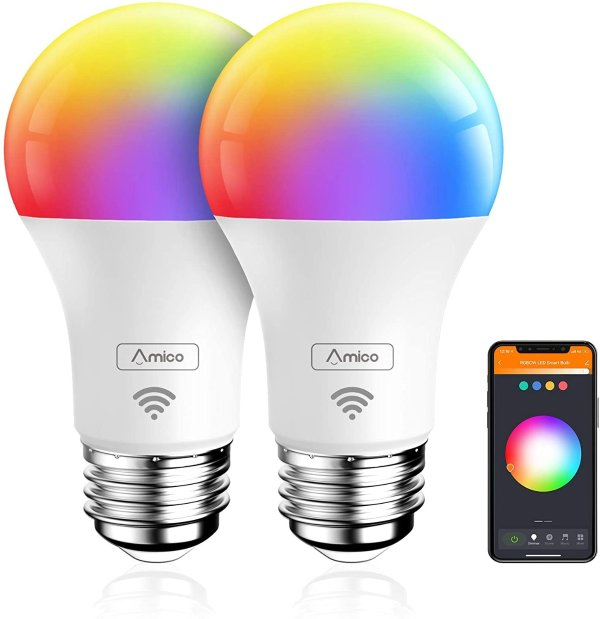 Amico 可调色智能灯泡 2个装 可连 Alexa, Siri, Google Home