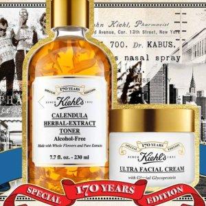珍藏!叠加送高保湿面霜套装Kiehl's 科颜氏170周年限定复刻!玻璃金盏花水、陶瓷高保湿霜