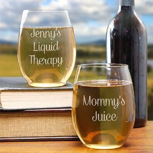 Engraved Any Message Stemless Wine Glass