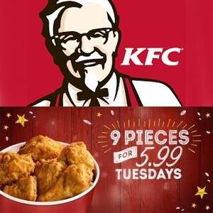 空降优惠!快来舔包!成功吃鸡!KFC 会员折扣开始啦~ 每周二9块吮指原味鸡只要£5.99