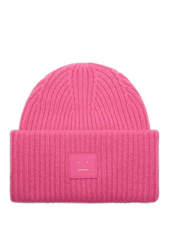 粉色笑脸毛线帽