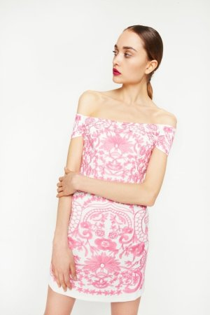 Foxie Dox Off-The-Shoulder Embroidered Mini Dress