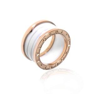 Bvlgarivia code DMBV799B Zero 18k Rose Gold And Ceramic Band Ring AN855564