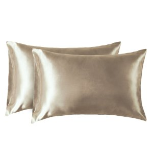 $7.99Bedsure Two-Pack Satin Pillowcases Set for Hair Polyester Cool and Easy to WASH Standard Size/Queen Size 20x30 Taupe Camel with Envelope Closure for Curly Hair @ Amazon