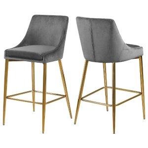 Karina Velvet Stool, Set of 2 - Midcentury - Bar Stools And Counter Stools - by Meridian Furniture