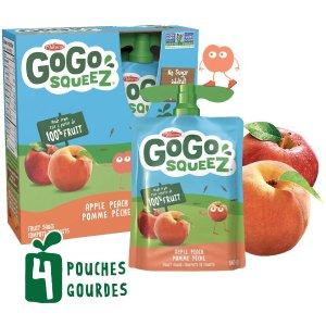 $2(原价$3.29) 4袋x90gGoGo squeeZ 天然水果果泥 健康营养 代餐佳品