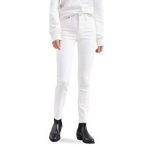 Levi's腿精都有一条白仔裤721 高腰修身仔裤