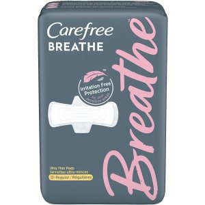 CarefreeBreathe Ultra Thin Regular Pads with Wings, Irritation-Free Protection, 32 Count