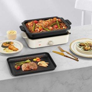 折后€96 深锅+烤盘两用CalmDo 多功能电锅 满足可煎、可烤、可煮多种烹饪需求