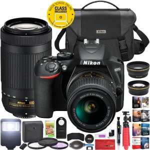 Nikon D3500 DSLR Camera 18-55 VR & 70-300 + Accessory Bundle