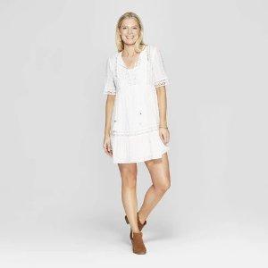 6ba0e0496a0 XhilarationWomen s Elbow Sleeve V-Neck Shift Midi Dress With Embroidery - Knox  Rose™