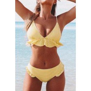 Yellow Gingham Ruffled Bikini