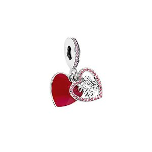 PandoraSilver CZ Red Double Happiness Heart Charm