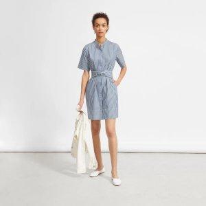 棉质系带衬衫裙