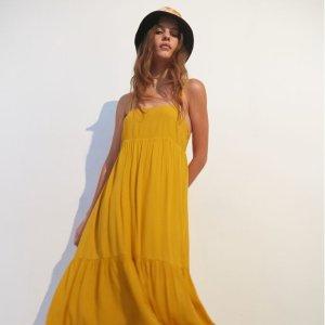 3.1折起+额外7折 糖果色最后一天:UO 淡黄长裙专场 $17.5收丝绒吊带连衣裙