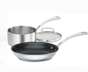 $29.99(原价$99.99)Cuisinart 法国经典不锈钢不粘锅具 3件