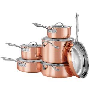 Cuisinart 铜制三层不锈钢经典锅具11件套