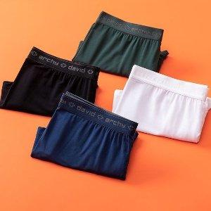 $19.99(原价$39.99)DAVID ARCHY 男士平角内裤4件套 XL码 透气竹纤维