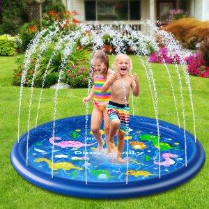 $17.99(原价$29.99)史低价:儿童户外洒水充气喷泉 清爽夏日消暑玩具 68英寸