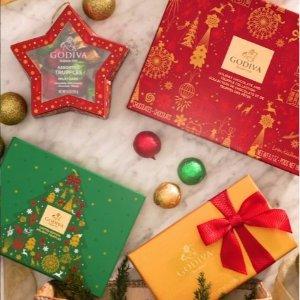 Godiva 精选圣诞礼盒限时特惠,满$15包邮