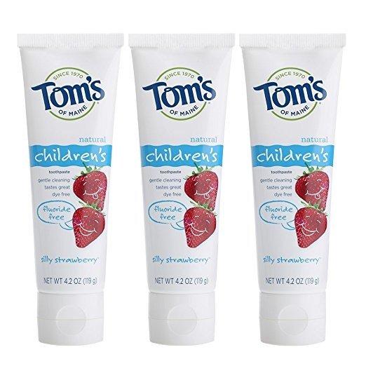 天然防蛀无氟儿童牙膏 草莓味 119g 3支