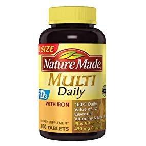 $10.37(原价$14.81)Nature Made 综合维生素胶囊 含铁 300粒