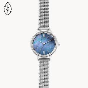 Anita Three-Hand Silver-Tone Steel Mesh Watch