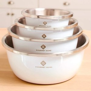 Gourmet Home Products 4 Piece Stainless Steel Mixing Bowls for Kitchen (Black)