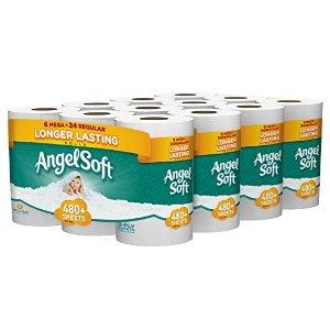 $16.94Angel Soft Toilet Paper, Bath Tissue, 24 Mega Rolls