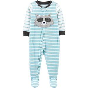 Carter's婴儿小浣熊抓绒包脚连体衣