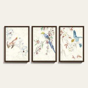 Chinoiserie Bird Watercolor Framed Art Print Series