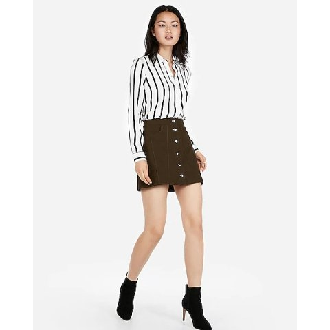 Snap Front A-line Mini Skirt